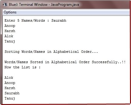 Java Program sort string