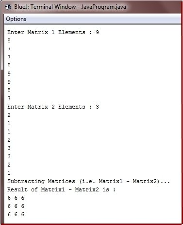 Java Program subtract two matrices