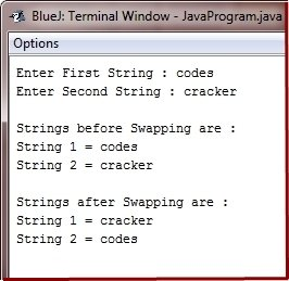Java Program swap two strings
