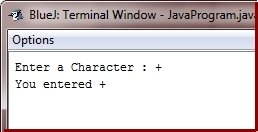 get character input in java