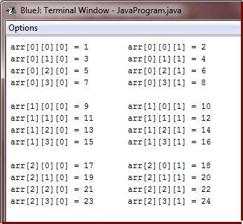 three dimensional array program in java