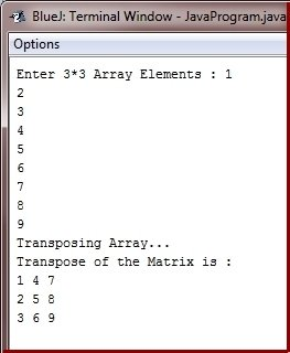 Java Program transpose matrix