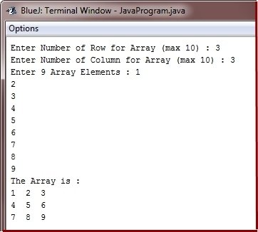 Java Two Dimensional Array Program