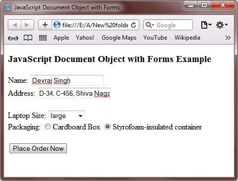 document object with forms