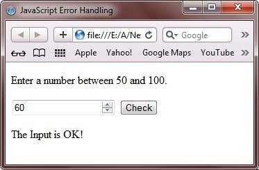 error handling program in javascript