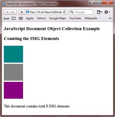 javascript document object collection