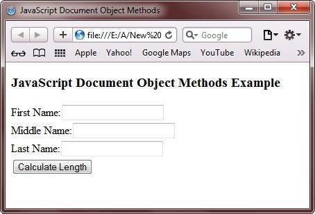 javascript document object methods
