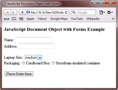 javascript document object with forms