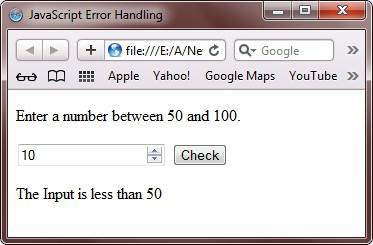 javascript error handling program