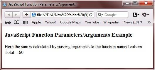 javascript function parameters arguments example