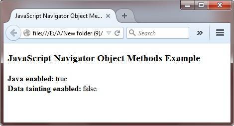 javascript navigator object methods example
