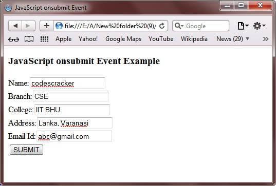 javascript onsubmit event example