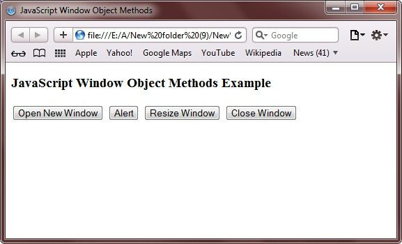 javascript window object properties methods