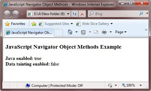 navigator object methods example
