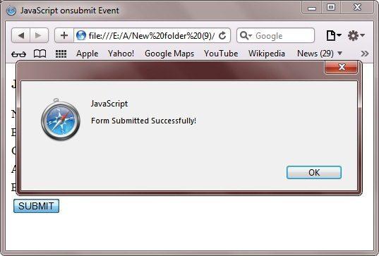 JavaScript onsubmit Event