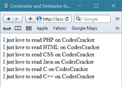 constructor and destructor in c++ example program