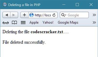deleting a file php