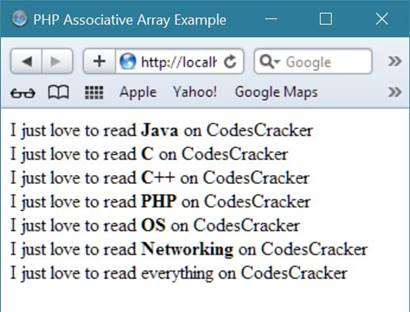 php associative array example