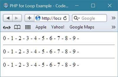 php for loop example