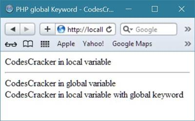 php global keyword example