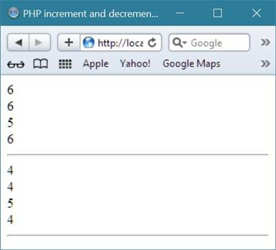 php increment decrement