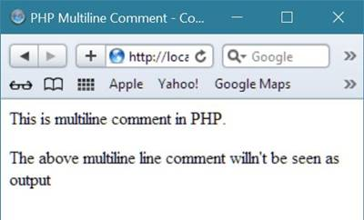 php multiline comment