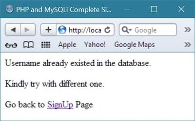 php mysqli complete signup page code