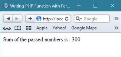 php parameterized function