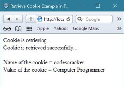 php retrieve cookie