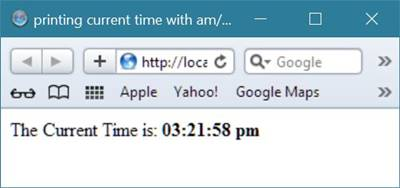 print current time with am pm php