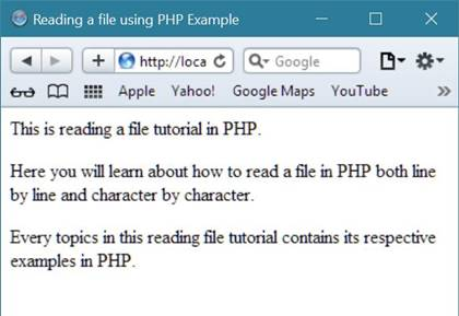 reading a file in php