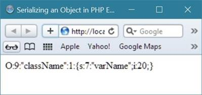 serializing an object in php