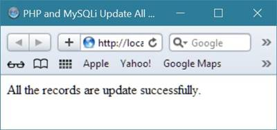 update all record php mysqli