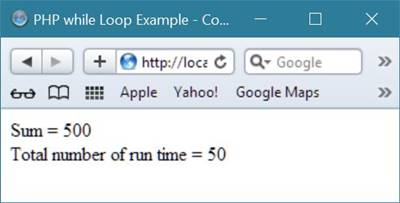 while loop example php