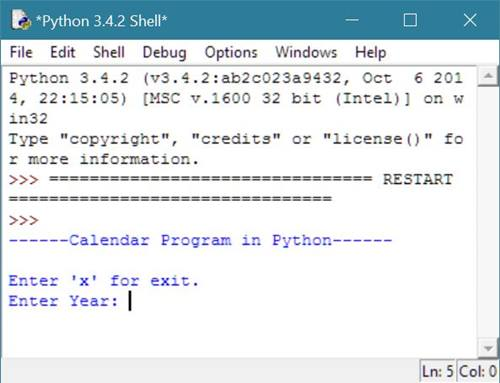 calendar program in python