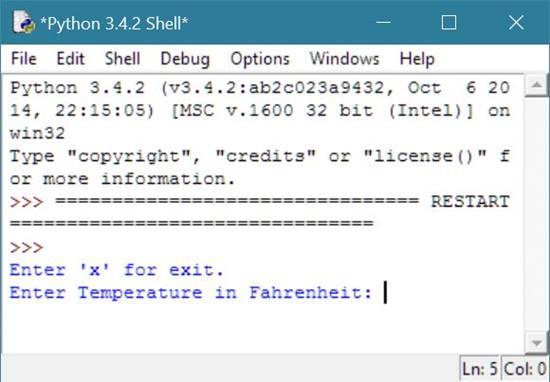 Python Program To Convert Fahrenheit To Celsius