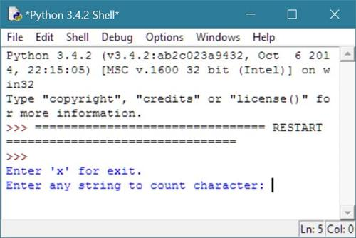 Python Program to Count Character in String