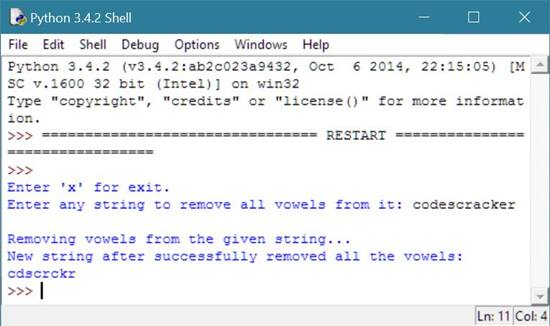 Python Program to Remove Vowels from String