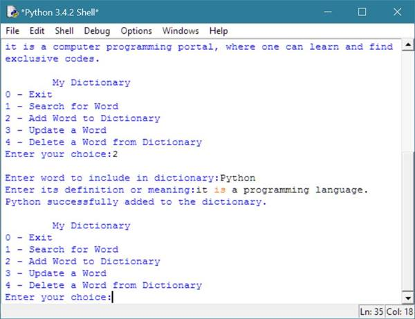 dictionary in python example