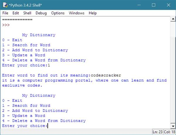 dictionary in python