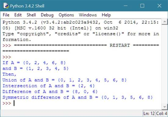 different set of mathematical operation python