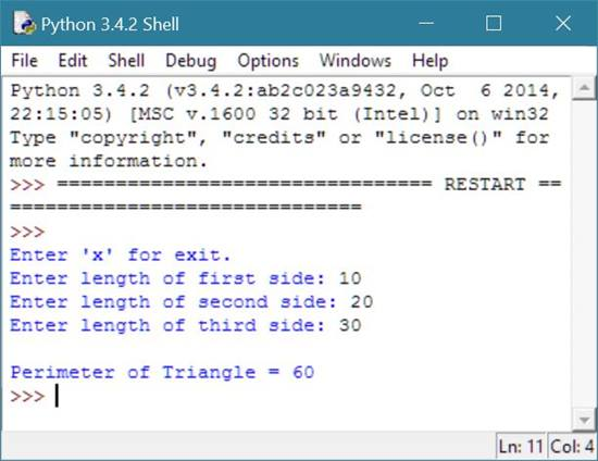 perimeter of triangle python