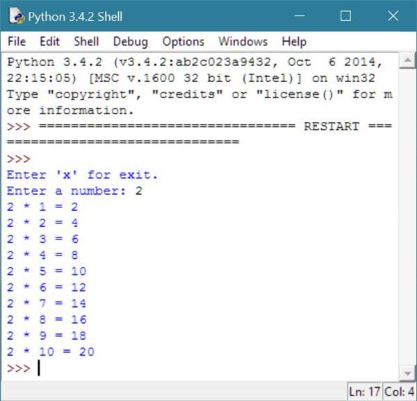 Python Program To Print Multiplication Table