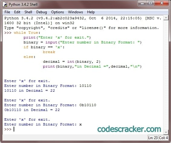 Python Program to Convert Binary to Decimal