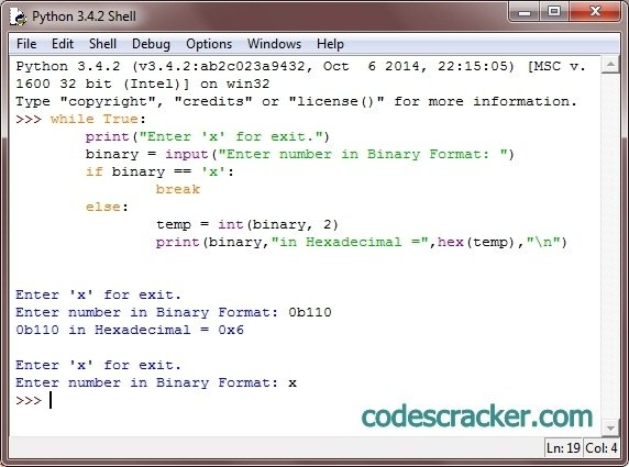 python program to convert binary to hexadecimal
