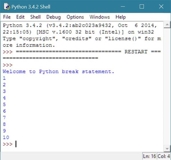 python break statement