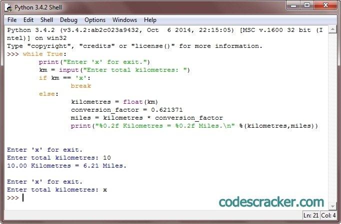 Python Convert Kilometres To Miles