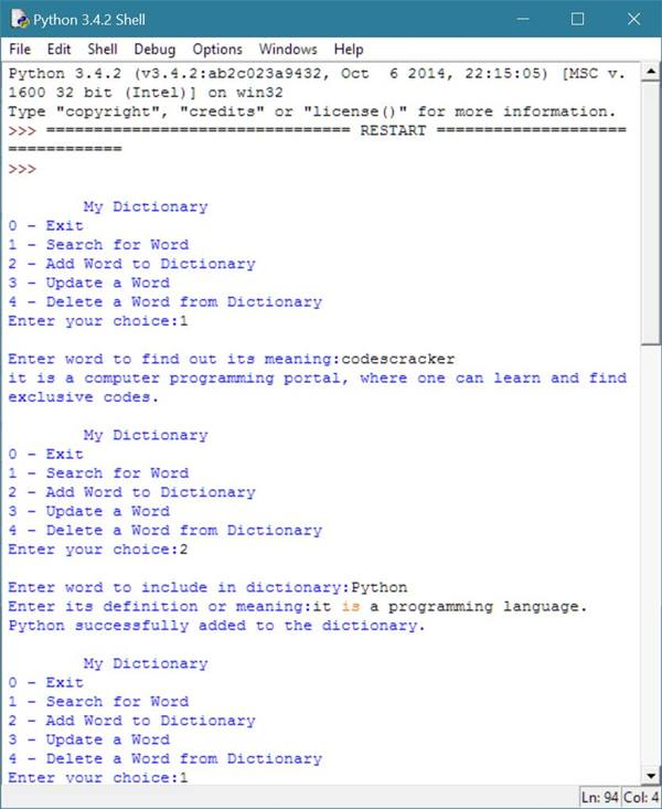 python dictionary program