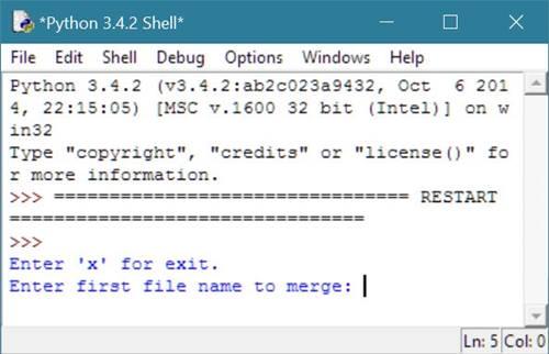 Python Program to Merge Two Files