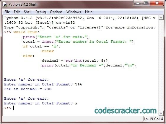 Python Program To Convert Octal To Decimal
